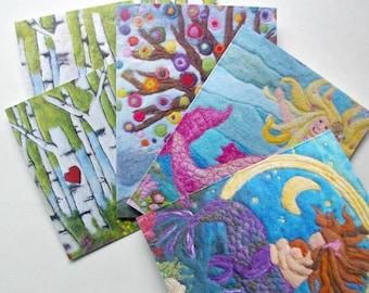 Notecard Set: 'Wonder Full' Reproductions of Original Fiber Art, All Natural (5 cards + envelopes, perfect for Kids)