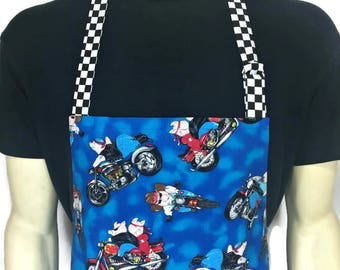 BBQ Chef Apron for Men / Hogs on Motorcycles / Blue Mens Apron with Pigs on Bikes / Adjustable with Pocket / Professional Chef Apron