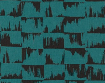 Japanese Fabric Kokka Ellen Baker Paint - brushstrokes - teal - fat quarter