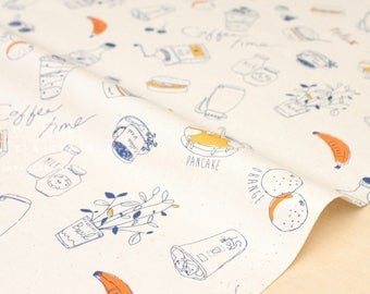 Japanese Fabric Lecien Coffee Time - navy, mustard, unbleached cotton - 50cm