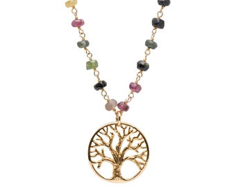 Tree of Life Necklace With Tourmaline Gemstones, Tree Pendant, Tourmaline Beaded Necklace, Tree of Life Necklace