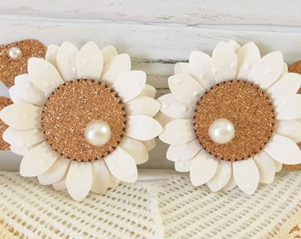 Rose Gold glitter paper flower embellishments wedding party gift decorations