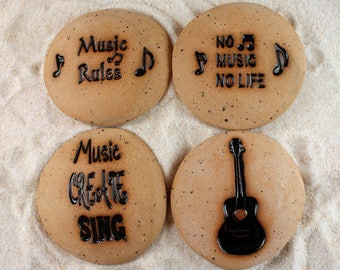 Painted Rocks, Music Gift, Guitar, Music Rules, No Life No Music, Music Create Sing 4 Ceramic Message Stones, Rock Art, Pocket Stone