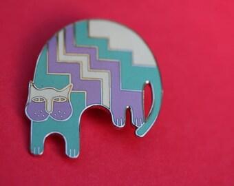 VINTAGE Laurel Burch AZTEC CAT pin / brooch