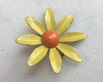 Vintage Pin, Brooch, Enamel over Metal, Flower, Yellow Petals, Orange Center, 1960's