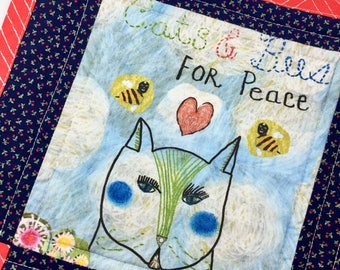 Cats And Bees For Peace Quilt Blanket For Mew, Cat Bedding, Cat Lady Cat Lover Gift