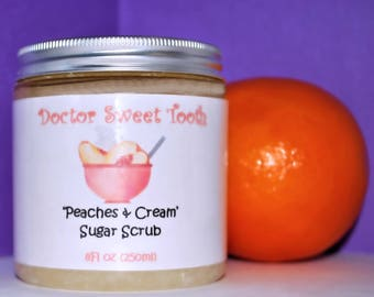 PEACHES AND CREAM Argan Oil & Shea Butter Sugar Scrub (Paraben Free) 8oz