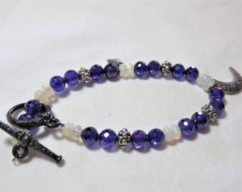 """Oxidized Sterling Silver Diamond """"Moon"""" and """" Star"""",Sterling Silver/Opal/Amethyst Cubic Zerdonia Beads and Oxidized Sterling Silver Bracelet"""