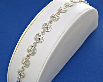 SALE Sand Dollar Bracelet Sterling Silver Diamond Cut Link Charms 7 inches Style no. 3304S
