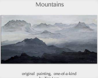Sale Original Landscape painting Black and White Mountain skyline Art on gallery wrap canvas Ready to hang by tim Lam 48x24