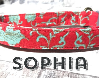 "Vintage Girly Bright Coral Light Green Flourish Floral Flowers Metallic Dog Collar - Antique Brass Hardware - ""The Sophia"""