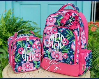 Posie Monogrammed Backpack, Lunchbox and Hairbow, Matching Set, Personalized School Bags for Girls, Navy and Hot Pink Floral Backpacks