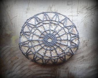 Lace Stone, Crocheted, Table Decorations, Original, Handmade, Home Decor, Gray, Collectible, Monicaj