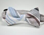 Blue Baja Stripe Cotton Boy's Bow Tie Ready To Ship
