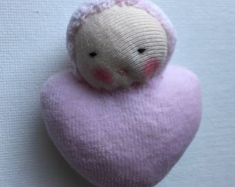 pink sweetheart, Waldorf Pocket doll, rag doll, heart shaped, baby doll