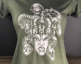 Medusa Cyborg Tshirt - Robot and Snake Womens Scoop Neck Tee