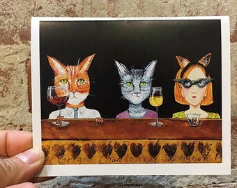 Crazy Cat Lady Card -  Blank Note Card - Funny Cat Greeting Card - Cat Art - Gift for Cat Lover - Cat Stationary