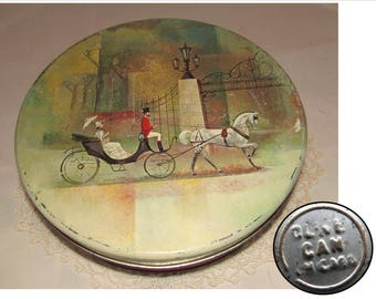 Vintage Large Round Cookie Tin by Olive Can Chicago with Victorian Lady with a Parasol in Horse & Carriage, 50s, storage container
