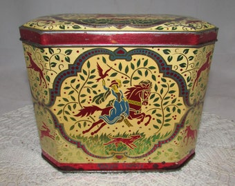 Vintage Riley's Toffee Tin English Candy Box, Halifax England, Stag Hunting Scene, horses, storage container