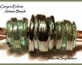 BIG HOLE BEADS Metallic Greens Lampwork Bead Set by Canyon Echoes