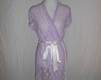 Closing Shop 40%off SALE Hand dyed lace robe  nightie sheer