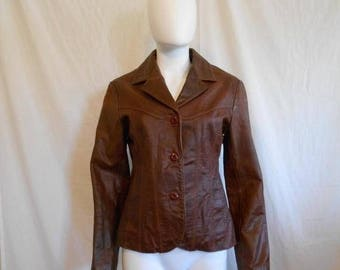 Closing Shop 40%off SALE 90s Women's Leather Brown Jacket