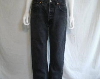 Closing Shop 40%off SALE 90's LEVIS faded black grey gray jeans 501 button up  W 34  waist