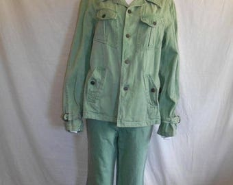 Closing Shop 40%off SALE 70s outfit pants jacket, men's green suit