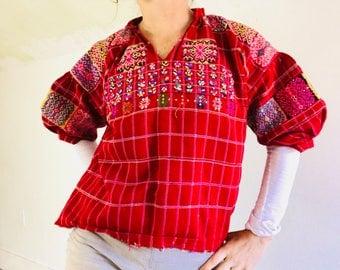Vintage Hand-Woven & Embroidered Guatemalan Huipil. Santiago Chimaltenango
