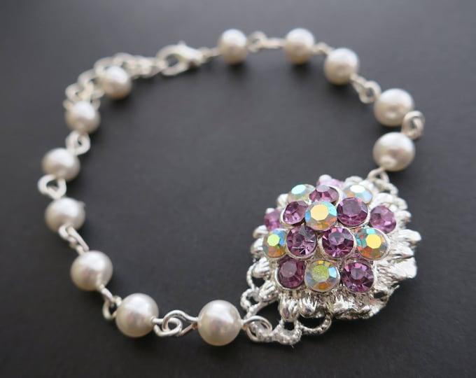 Old Hollywood Style Lavender Wedding Crystal Ivory Pearl Bracelet Plum Eggplant Royal Purple CZ AB Flower Vitriol Light Bridal Jewelry Lilac