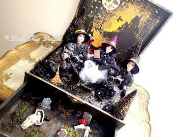 The Bewitching Hour Assemblage Witch Art Dolls Three Witches Decoration Frozen Charlotte Halloween Decor  One-of-a-Kind Lorelie Kay Original