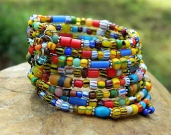 African Christmas Trade Beads Bangle