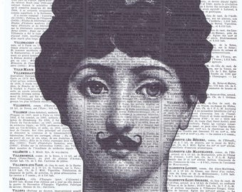 Fornasetti.moustache.collage.Gift.Vintage Book Page Print.Home Deco.birthday.art.retro.french.mixed media art.antique.classic.bedroom.bath