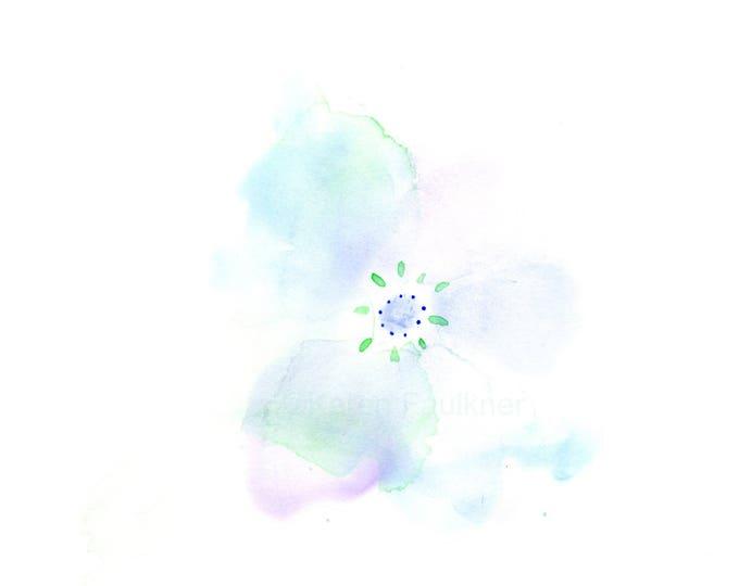 "Original watercolor flower painting: ""Pale Blue Blossom"""