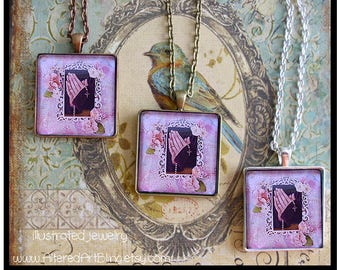 BeholdThe Power of Prayer, mixed media collage, original art pendant available in 3 finishes, religious pendants, pastels