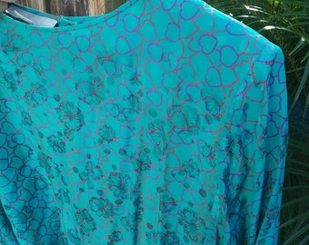 Vintage 80s Teal silk jacquard heart print dress - Dolman sleeves