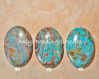 Imperial Turquoise Oval Puffed Bead/Pendant, 35x25mm (Select from scroll down menu)