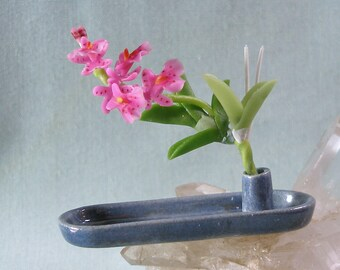 Dollhouse Miniature Long Tray Ikebana in Slate Blue Glaze with Pink Orchid for One Inch Scale Dolls House