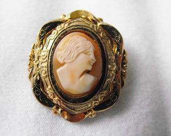 Antique brooch, Genuine Shell Cameo, Ornate YGP Setting, ca 1930-40, NT-1453