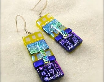 Fused glass earrings, Dichroic glass jewelry, handmade dichroic glass jewelry, unique jewelry, dangle earrings, statement earrings, glass