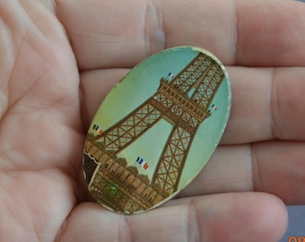 Eiffel Tower Brooch,Pin,Place de la Concorde Paris, Parisian,Souvenir French Scenic Picture,The Leaning Tower of Pisa,Travel, Pisa Italy,