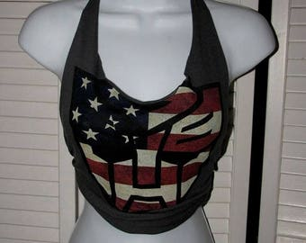 snip snip its my birthday american flag transformers autobots logo shredded t shirt halter top one size fits most