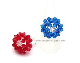 Swarovski Ring;crystal ring;Flower Button Ring, Red and Blue Daisy Swarovski Crystal Ring by CandyBead R015-02