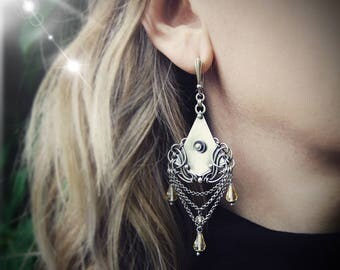 Melilotus - unique handcrafted chandelier earrings - silver and citrine