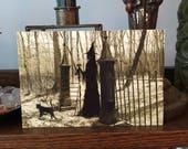One Art Print 4x6 from my Original Painting Cat Victorian Crescent Moon Witch Halloween Gothic Folk Terri Foss