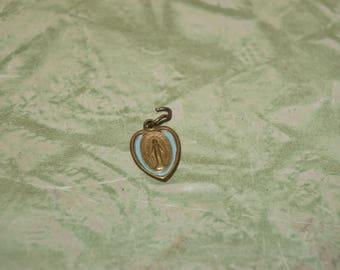 Tiny vintage brass Virgin Mary heart medal    Blue enamel  brass