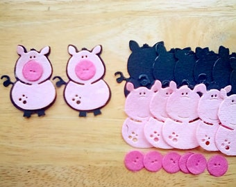 Cute Pig Die Cuts, thick textured mulberry paper, self assembly, set of 8