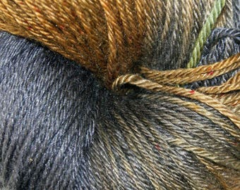Bark in Hand Dyed Poet Seat Fingering Weight Superwash Merino and Silk Yarn