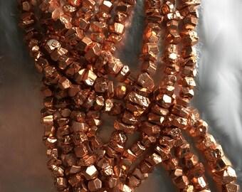 Pyrite Nuggets with Copper Overcoat Finish, Bright Polish, Metallic Bead