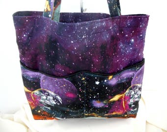 Purple Reversible Tote Bag, Cosmic Space Tote Bag, Purple Cosmic Space Tote Bag, Planets Tote Bag, Large Purple Tote Bag, Solar Eclipse Bag